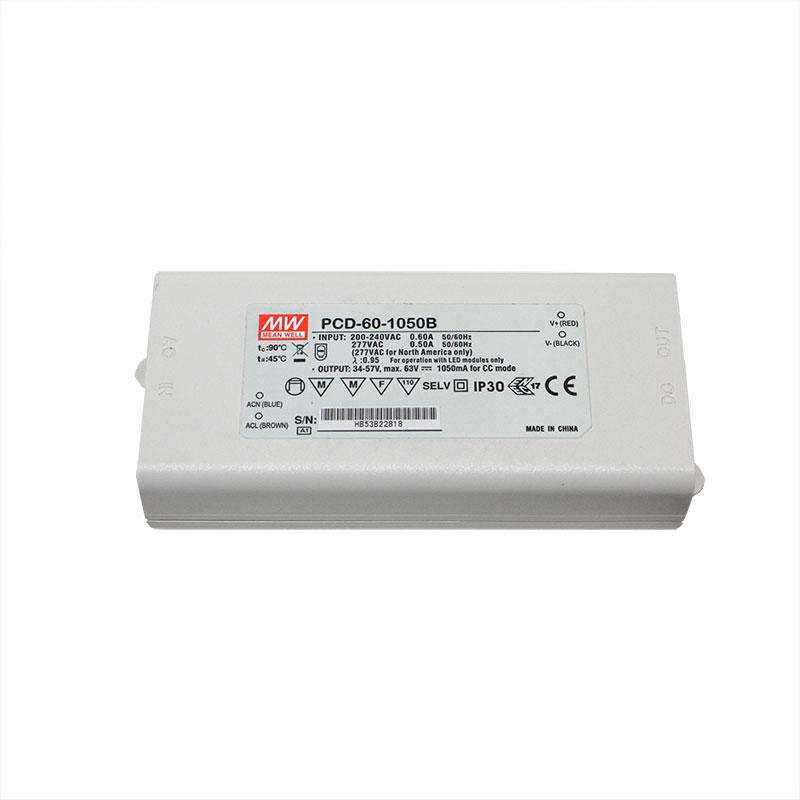 LED Driver MEAN WELL PCD-60-1050B, DC34-57V/50W/1050mA, Regulable, Regulable